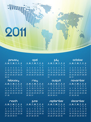 2011 calendar with Earth map