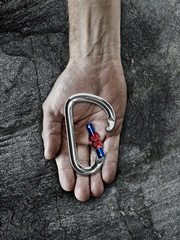 Carabiner in palm of hand