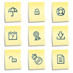 Data security icons, yellow notes series