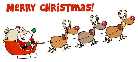 Merry Christmas Greeting With Santa Sleigh And Reindeer