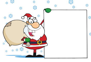 Christmas Santa Clause Presenting A Blank Sign