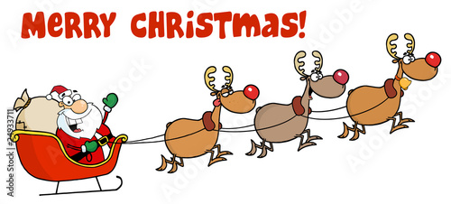 Merry Christmas Greeting With Santa Sleigh And Reindeer
