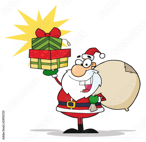 Christmas Santa Holding Up A Stack Of Gifts