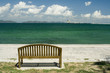 The green sea and a wooden chair