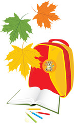 Backpack, book and pencils. School composition. Vector