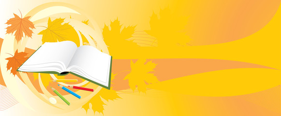Book and pencils. Seasonal abstract background. Vector