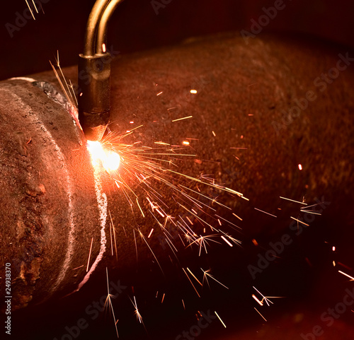 Sparks during the gas cutting