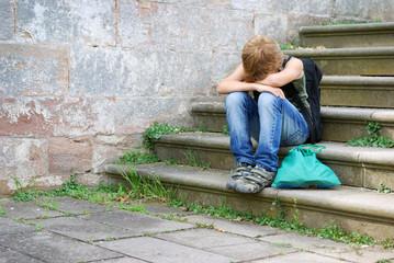 Trauriger Schüler