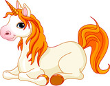Beautiful unicorn with red mane and tail poster