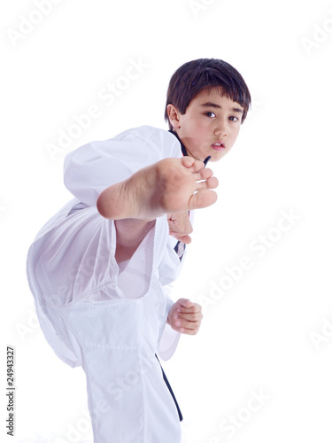 child training martial arts isolated on white background