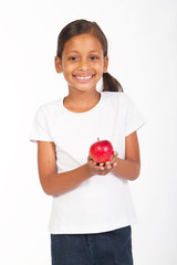 indial girl holding apple