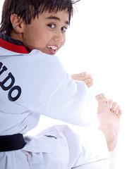 child exercising isolated on white background