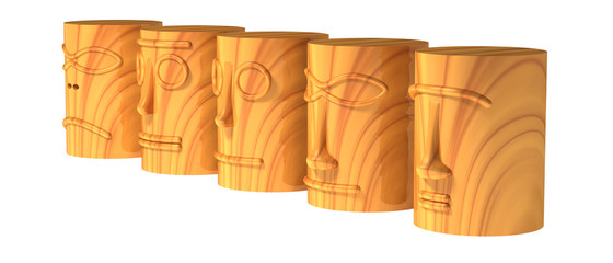 Five abstract wooden totem heads