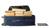 Suitcase full of books with eBook reader poster