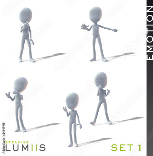 Lumiis 3D-Figuren weiss Emotion Set 1