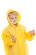 child with yellow raincoat