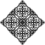 black rhombus design on white poster