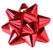 noeud rouge décoration cadeau, fond blanc