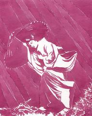 Donna giapponese in kimono sotto la pioggia
