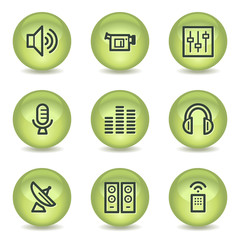 Media web icons, green glossy circle buttons