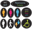 Editable vector restroom signage set