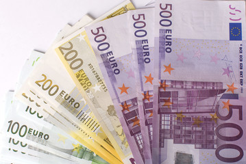 Close-up of the fan Euro banknotes
