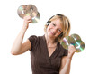 happy woman listening music with cds in the hands