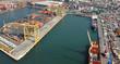 Leinwanddruck Bild - aerial harbor