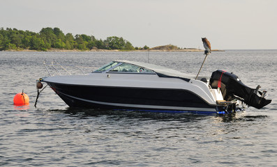 Fast motorboat in Swedish bay
