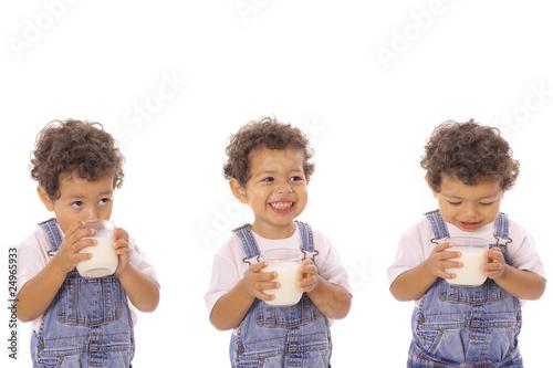 Three children with milk