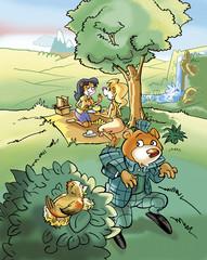 Orso investigatore picnic