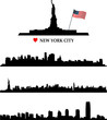 New York and statue of liberty silhouette