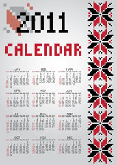 Calendar for 2011 with decorative ornament