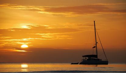 Silhouette boat at Lipe island, Thailand