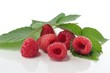 raspberries with leaves