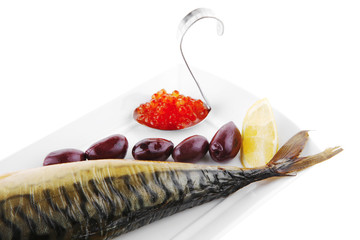 red caviar and sea fish