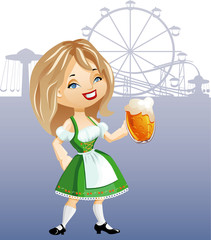 cute blonde girl with glass of beer, dressed in dirndl