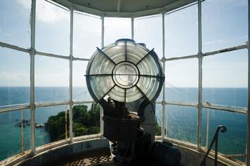 inside the top part of lengkuas island lighthouse