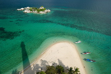 tropical beach at belitung indonesia from lighthouse view