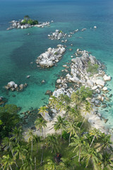 exotic beach at belitung indonesia from high angle