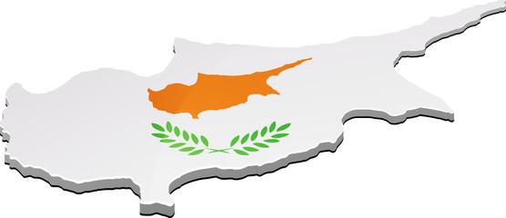 Carte de Chypre 3D drapeau (détouré)