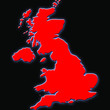 glowing red great britain