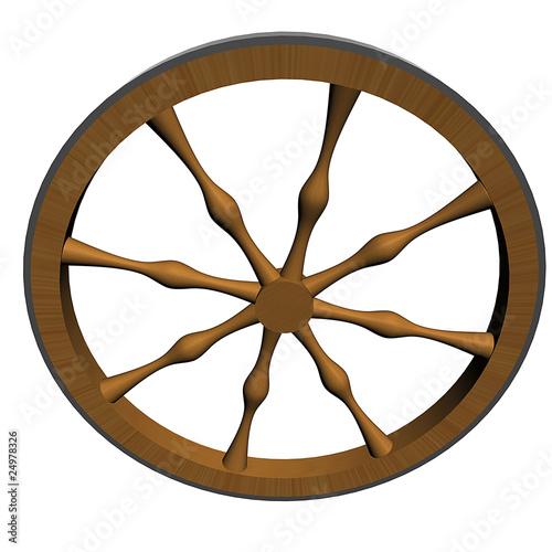 Ancient craftsmanship wooden wheel