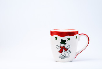 Christmas Mug with a Snowman on a white background.