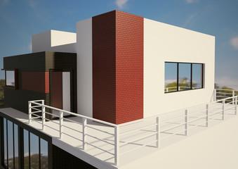 Haus mit Terasse 3d