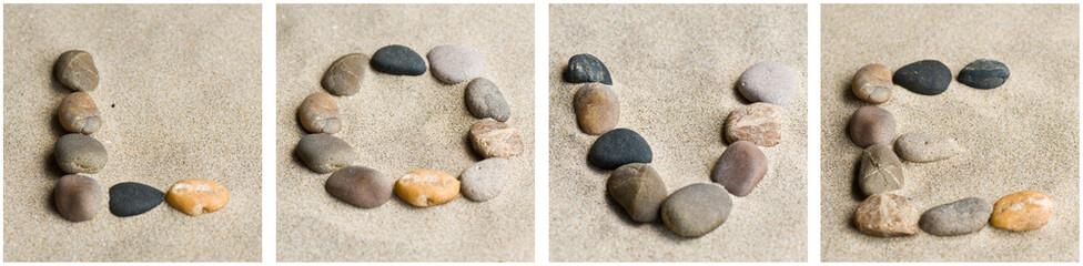 composition LOVE en galets zen