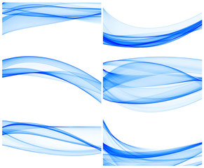 a set of abstract blue wave background