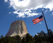 American Flag over Devils Tower