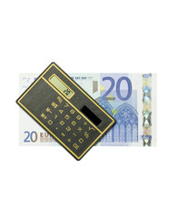 calculator and 20 euro bill