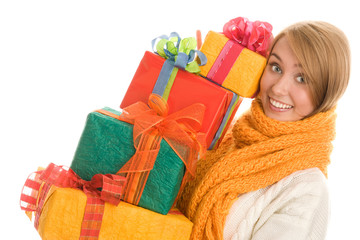 Winter woman holding gifts